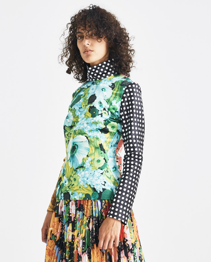 Richard Quinn Floral Patchwork Top Machine-A Machine A SHOWstudio A/W 18 floral patch work top polka dot white black high neck fitted queen elizabeth collection