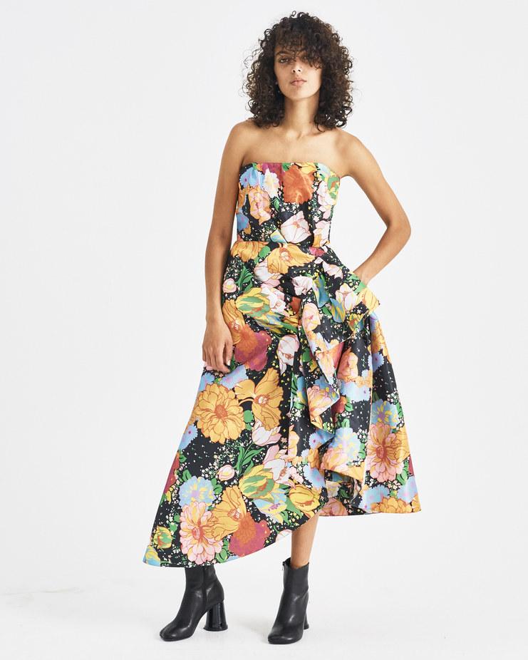 Richard Quinn Black Floral Ruffle Dress Machine-A Machine A SHOWstudio A/W 18 strapless flower draped dress black multicolor