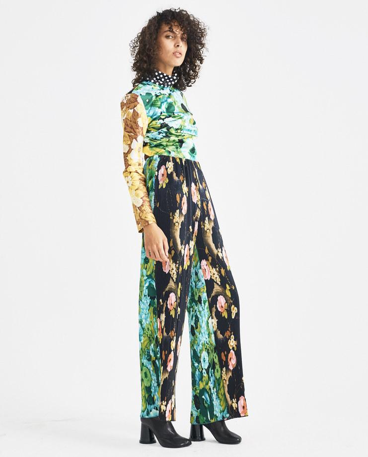 Richard Quinn Black Floral Pleat Trousers Machine-A Machine A SHOWstudio A/W 18 contrasting pleated flower wide cut pants