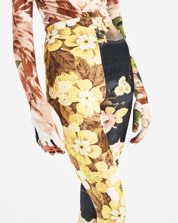 Richard Quinn Yellow and Pink Mix Contrast Leggings AW18-51 Machine-A Machine A SHOWstudio contrasting floral velvet