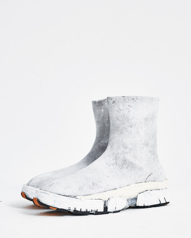Maison Margiela White High-Top Fusion Sneakers Machine-A Machine A SHOWstudio A/W 18 S57WS0224 mens boot shoes chunky painted