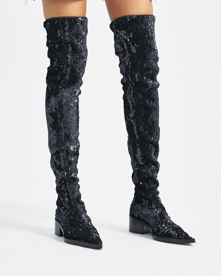 MM6 Black Sequin High Boots Machine-A Machine A SHOWstudio A/W 18 S59WW0031 womens over the knee boot sparkling shoes
