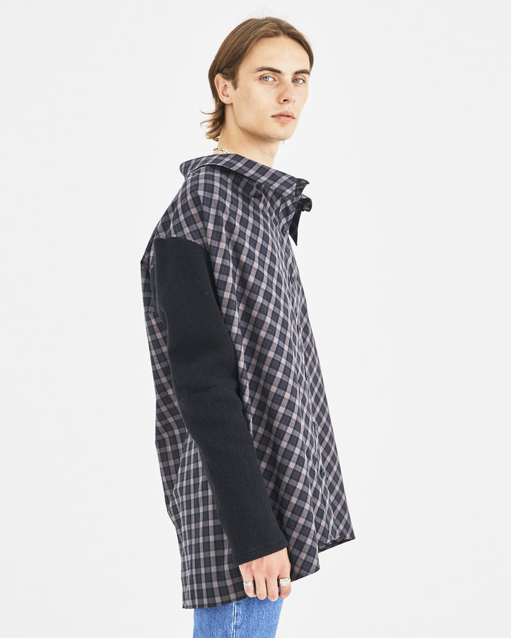 AMBUSH Grey Nobo Off Shoulder Shirt Machine-A Machine A SHOWstudio A/W 18 tartan buttoned off-shoulder shirt wool sleeves