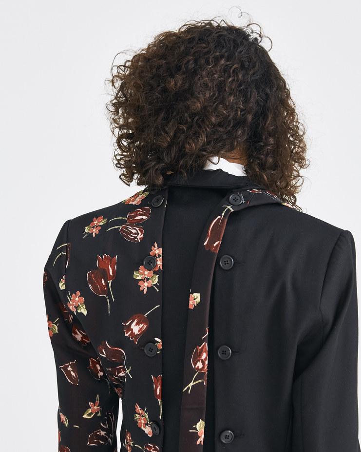 DELADA Black Floral Blazer with Tie Accessory DW4BLZ2 Machine-A Machine A SHOWstudio deconstructed half blazer buttoned flower print
