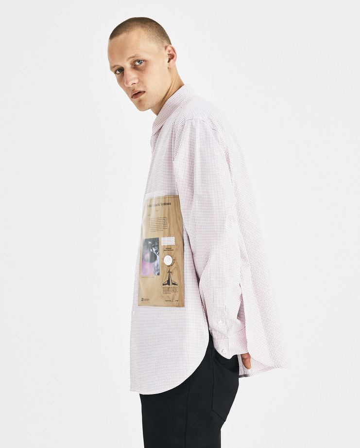 Raf Simons Red and White Striped Shirt with Plastic Pocket Machine-A Machine A SHOWstudio A/W 18 drugs collection classic buttoned shirt side slits