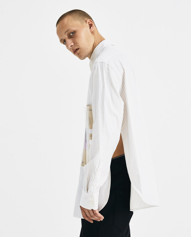 Raf Simons Beige and White Striped Shirt with Plastic Pocket Machine-A Machine A SHOWstudio A/W 18 drugs collection classic buttoned shirt side slits