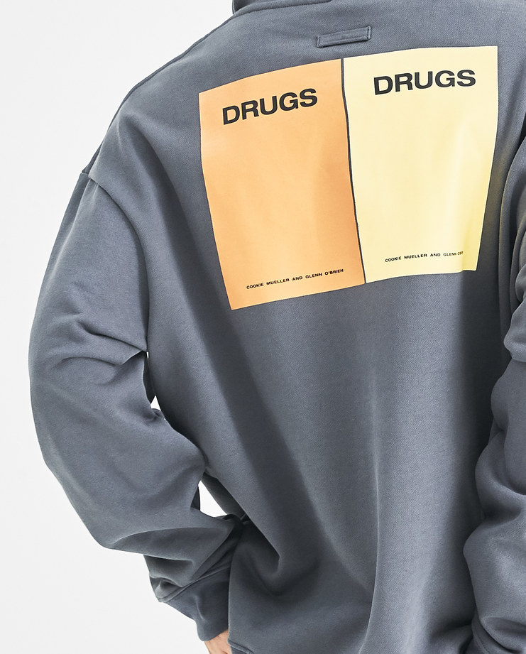 Raf Simons Grey Classic Hoodie with Drugs Print 182-164-19004-00083 Machine-A Machine A SHOWstudio rafsimons A/W18 AW18 collection sweater hood
