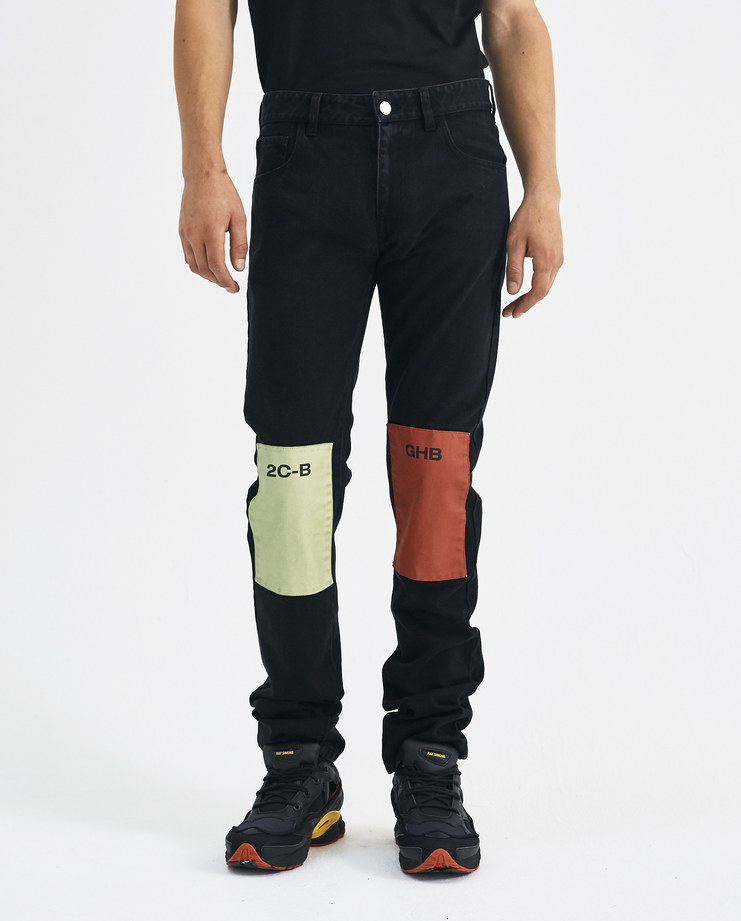 Dark Grey Jeans with Knee Patches 182-310-10031-09925 Machine-A Machine A SHOWstudio A/W 18 AW18 trousers knee patches