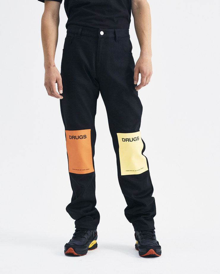Raf Simons Black and Orange Jeans with Knee Patches 182-310-10033-09935 Machine-A Machine A SHOWstudio A/W 18 AW18 trouser denim drugs collection