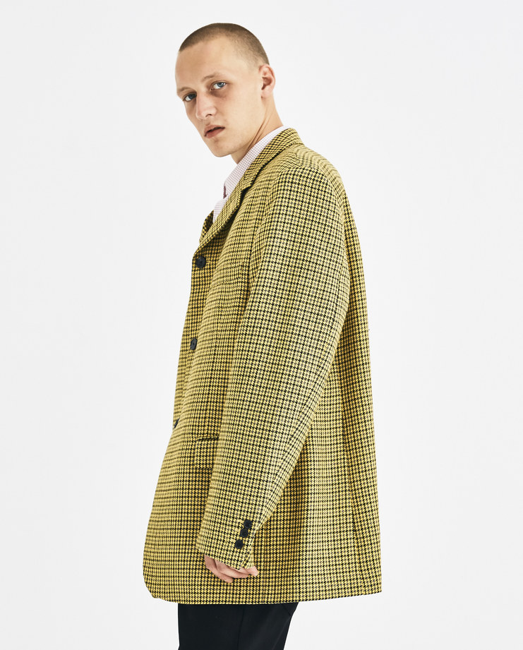Raf Simons Yellow Houndstooth Big Fit Blazer 182-517-20019-00015 Machine-A Machine A SHOWstudio A/W 18 AW18 buttoned jacket rafsimons