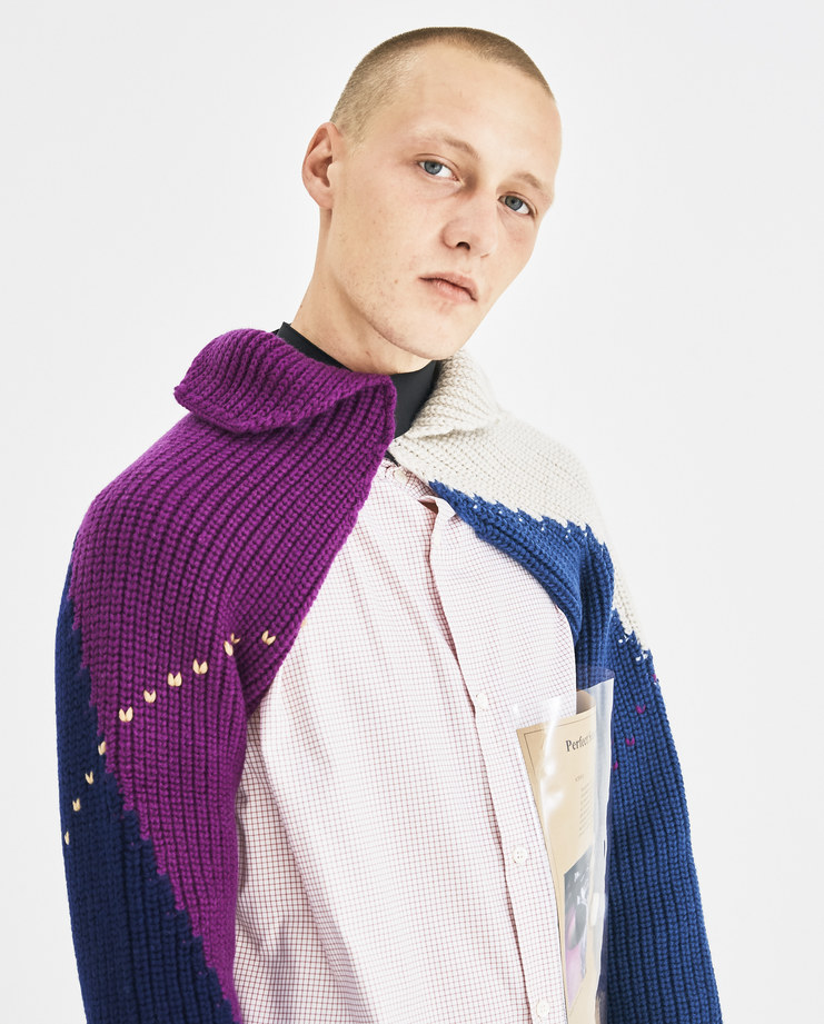 Raf Simons Blue Knit with Elastic 182-839-50002-04043 Machine-A Machine A SHOWstudio A/W 18 AW18 knitted sleeves geometric special stitch design