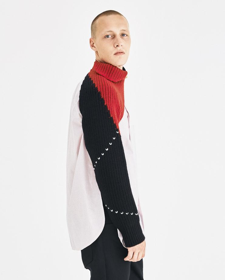 dc36c42ddaf1c2 ... Raf Simons Black Knitted Sleeves with Elastic 182-839-50002-09944  Machine- ...