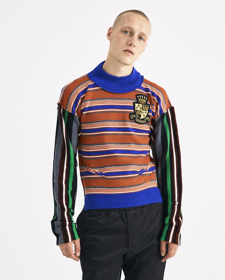 JW Anderson Orange Logo Patch Stripe Jumper KW05018F Machine-A Machine A SHOWstudio A/W18 aw18 sweater sweat fitted merino wool knit sweater striped