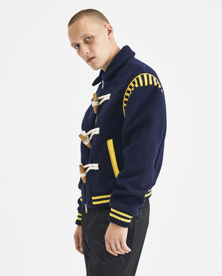JW Anderson Navy Blue Varsity Wool Jacket JK00318F Machine-A Machine A SHOWstudio A/W 18 aw18 knit rope toggle front