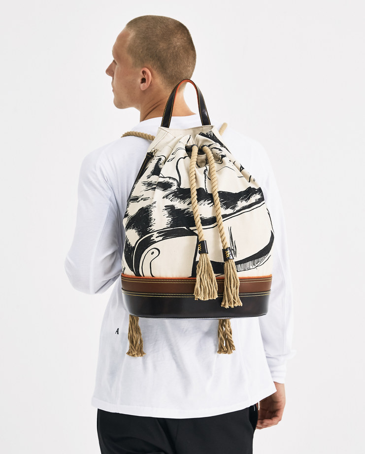 JW Anderson Printed Sailor Backpack HB00418F Machine-A Machine A SHOWstudio A/W 18 aw18 printed leather base rope straps and closure padded back