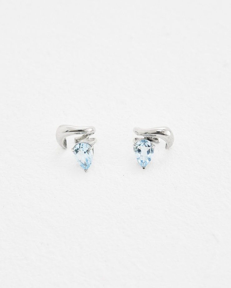 ALANCROCETTI SIlver and sky blue sculpted ear cuffs Machine-A Machine A SHOWstudio 925 sterling silver