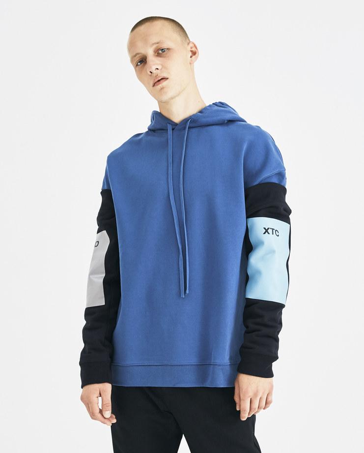 Raf Simons Navy Blue Hoodie with Detachable Sleeves 182-188-19004-00044 Machine-A Machine A SHOWstudio A/W 18 aw18 rafsimons sweater jumper dark blue