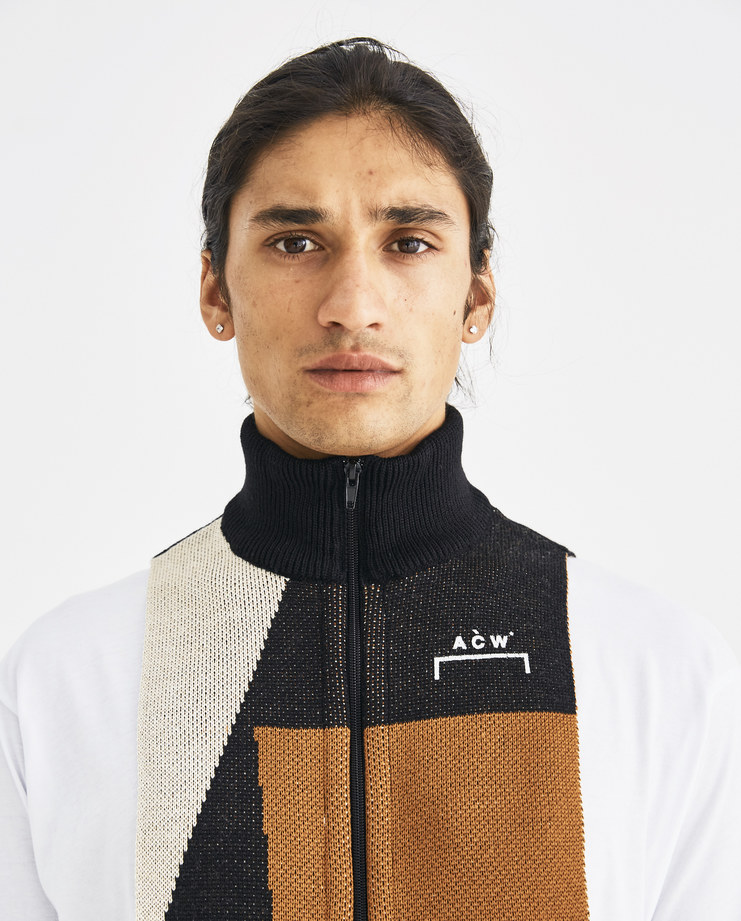 A-COLD-WALL* Black and Brown Zip Panel Scarf CWY115 Machine-A Machine A SHOWstudio A/W 18 aw18 virgin wool high neck