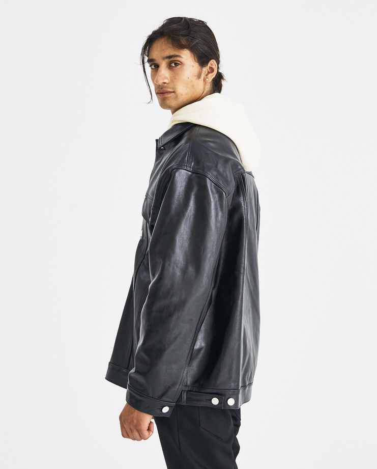 Martine Rose Black Oversized Leather Jacket CMR501 Machine-A Machine A SHOWstudio A/W 18 aw18 drop shoulder long sleeve