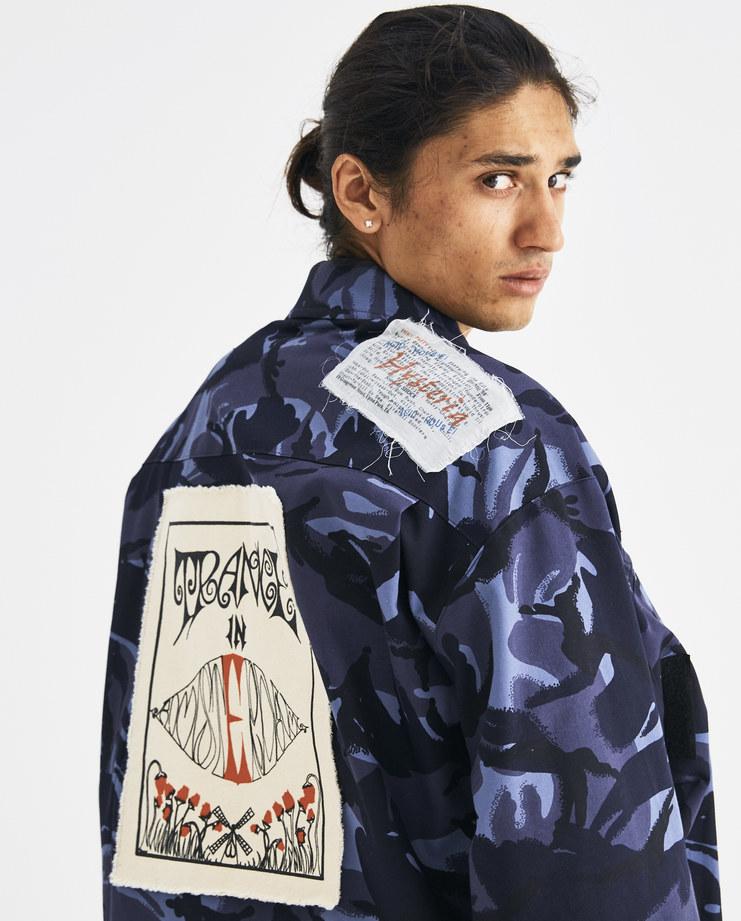 Martine Rose Blue Camouflage Coat MRAW18-725 Machine-A Machine A SHOWstudio A/W18 aw18 camo jacket zipped patches patch