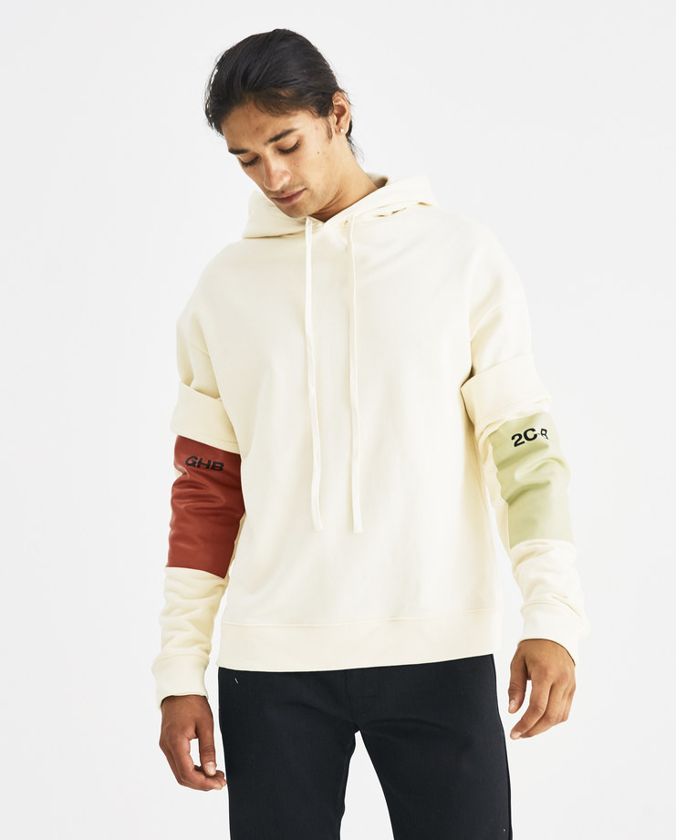 Raf Simons White Hoodie with Detachable Sleeves 182-188-19004-00018 Machine-A Machine A SHOWstudio A/W 18 aw18 drug collection