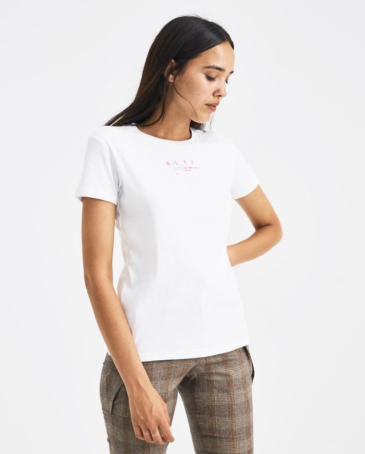 ALYX White Hacker Baby T-shirt AVWTS0005A007 Machine-A Machine A SHOWstudio slim fit pink logo print round neck