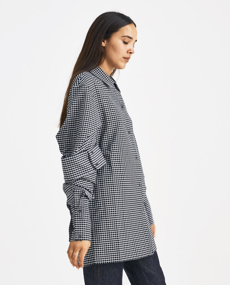 DELADA Black Checked Puffy Sleeve Shirt SH05 womens AW 18 autumn winter 2018 SHOWstudio MACHINE A shirts b/w check double sleeve long sleeves buttoned shirt