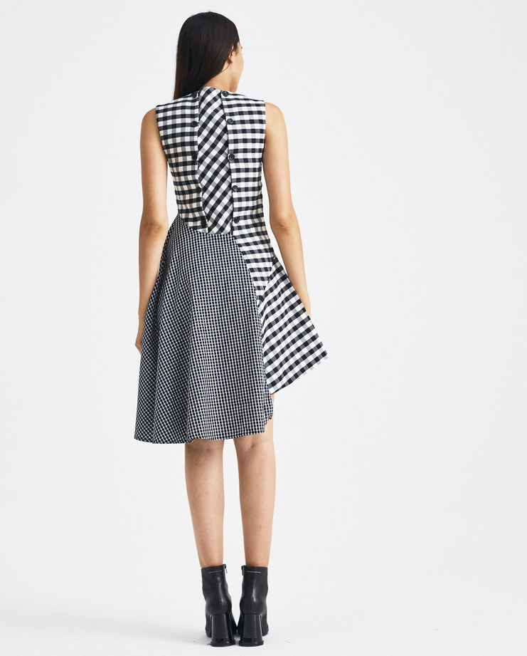 DELADA Black Checked Fitted Dress with Panel Back DW4DR2 womens AW 18 autumn winter 2018 SHOWstudio MACHINE A dresses flowers dilada
