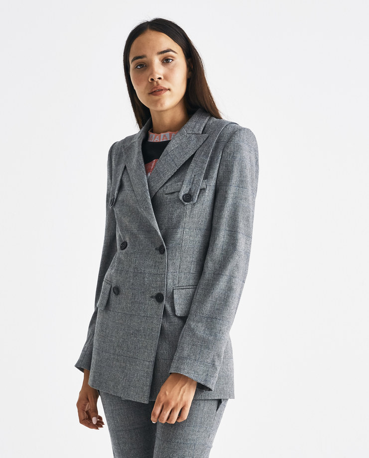DELADA Grey Checked Blazer with Back Panel and Straps BLZ1 Machine-A Machine A SHOWstudio A/W 18 aw18 paneled buttoned straps