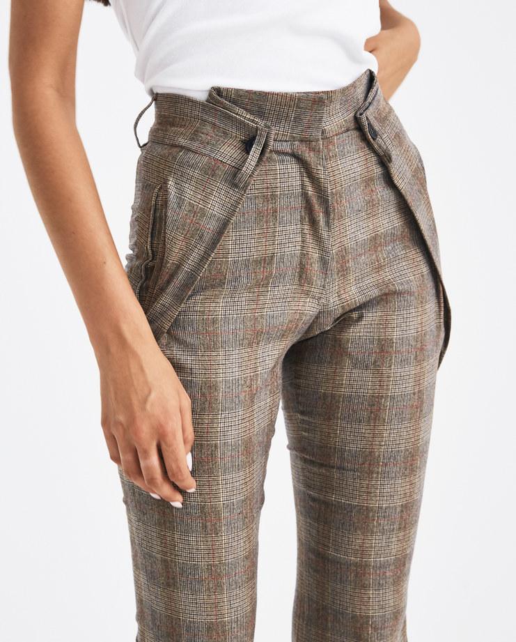 DELADA Brown Checked Flare Trousers DW4TR5 Machine-A Machine A SHOWstudio A/W 18 aw18 waist fold flared cut