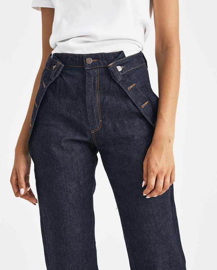 DELADA Blue Denim Trouser with Folds DW4TR2 Machine-A Machine A SHOWstudio A/W 18 aw18 waist folds buttoned straight legs jeans
