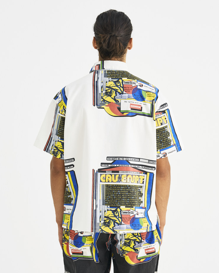 Cav Empt White Graphic Print Short Sleeve Shirt CES14SH06 Machine-A Machine A SHOWstudio A/W 18 aw18 buttoned short sleeve shirt multicolored