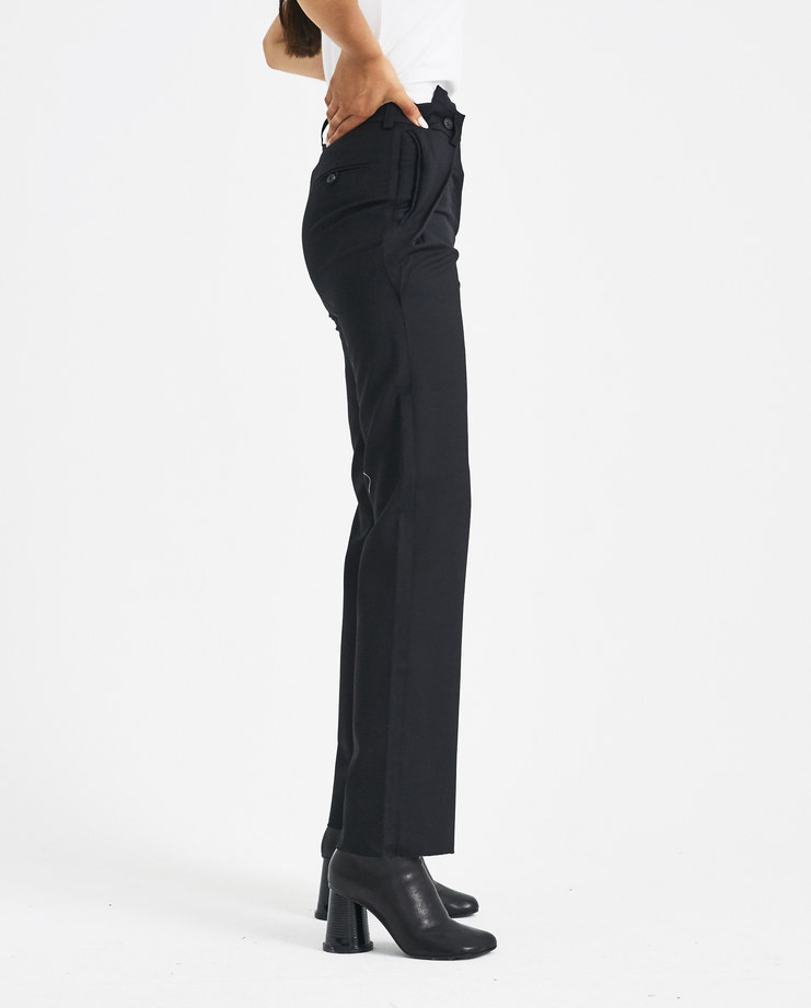 DELADA Black Trousers with Waist Folds DW4TR4 Machine-A Machine SHOWstudio A/W 18 aw18 suit trouser straight legs buttoned