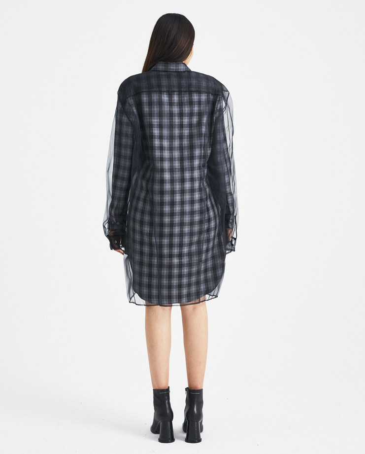 Y/PROJECT Grey Organza Shirt Dress WSHIRT37LO-S15 Machine-A Machine A SHOWstudio A/W 18 aw18 classic button shirt checked checks black