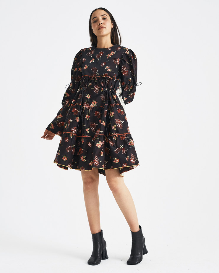 DELADA Floral Oversized Dress DW4DR5 womens AW 18 autumn winter 2018 SHOWstudio MACHINE A dresses flowers dilada drawstring adjustable puff sleeves