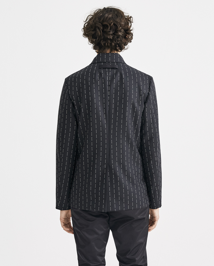 ALYX Logo Collared Suit Jacket CWF108 Machine-A MachineA SHOWstudio A/W 18 aw18 logo all over print suit jacket long sleeves