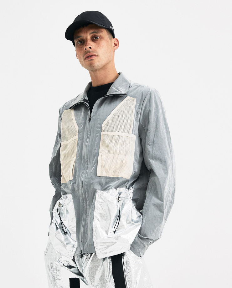 Oakley by Samuel Ross Grey Metallic Multipockets Jacket 412616 Machine-A Machine A SHOWstudio A/W 18 aw18 metallic zipped nylon mesh