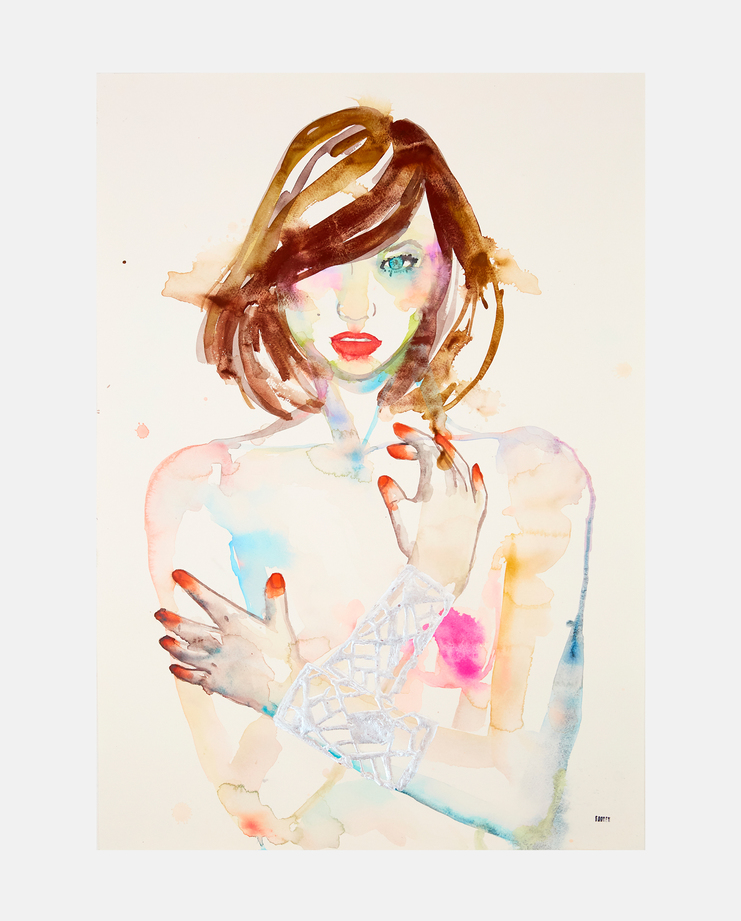 Karlie Kloss, Fahren Feingold, Fashion Illustration, 100 years of women exhibition, artwork