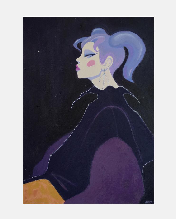 Kiko Mizuhara by Velwyn Yossy, Fashion Illustration, 100 years of women exhibition, artwork