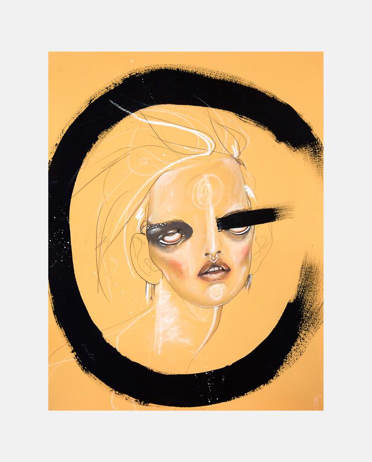 Stella Tennant, Jowy Maasdamme, Fashion Illustration, 100 years of women exhibition, artwork