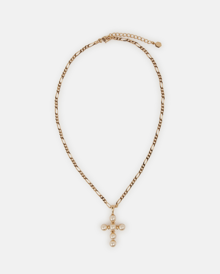 O Thongthai pearl crucifix necklace with a brass figaro link chain plated in 18 karat gold.