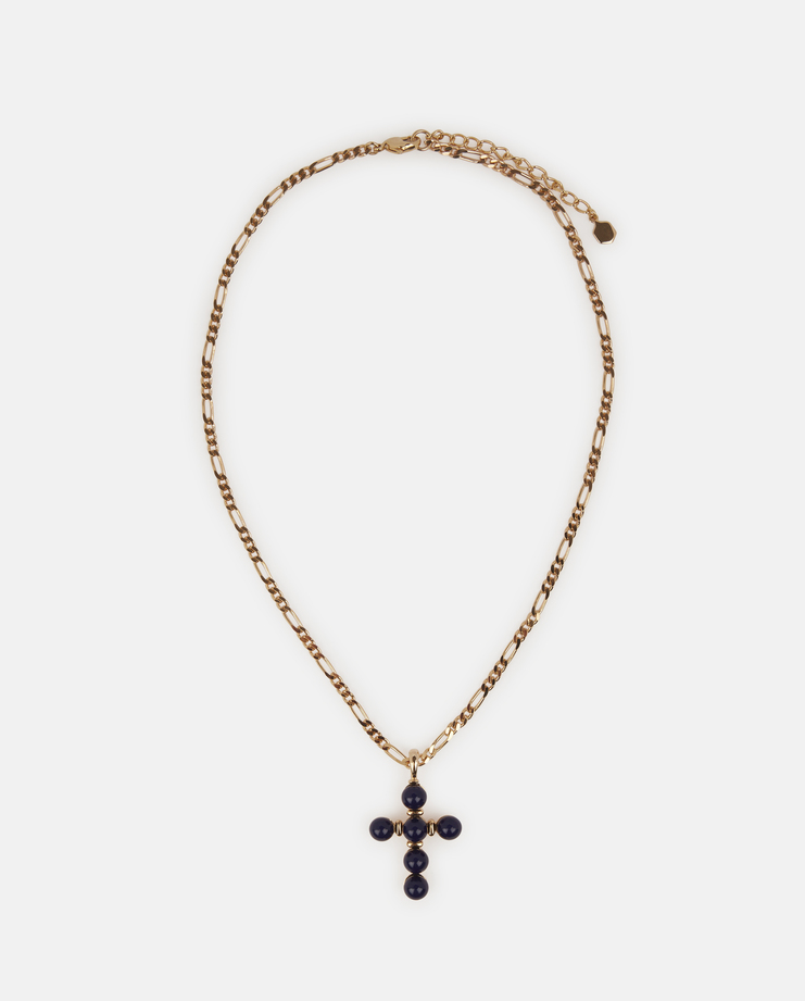 Pearl Crucifix Necklace in navy by o thongthai