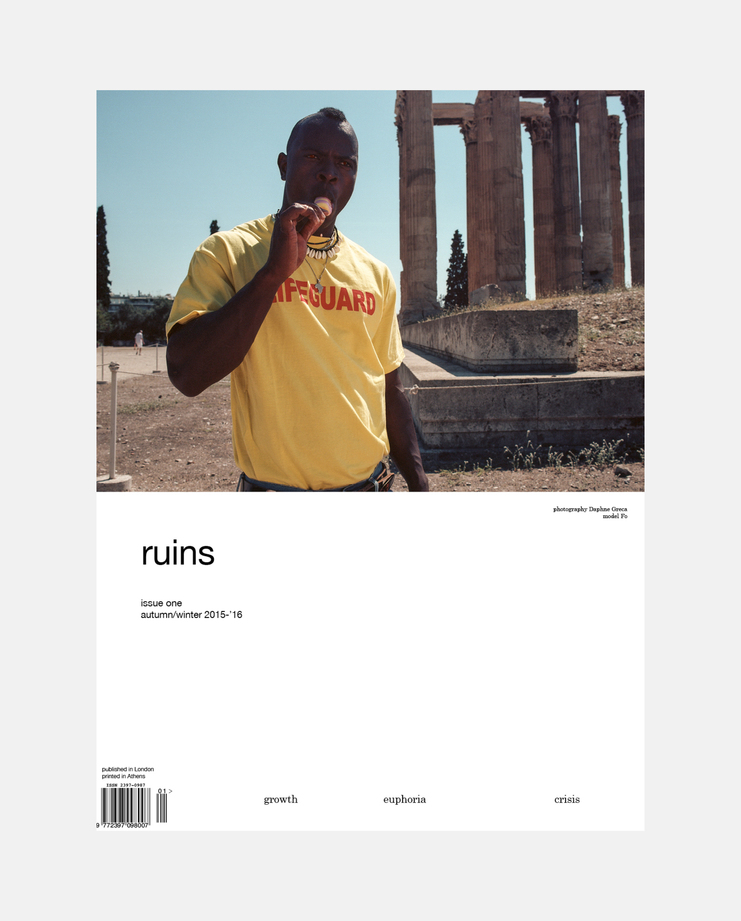 Ruins magazine's first issue, entitled 'Growth Euphoria Crisis' by Christos Petritzis