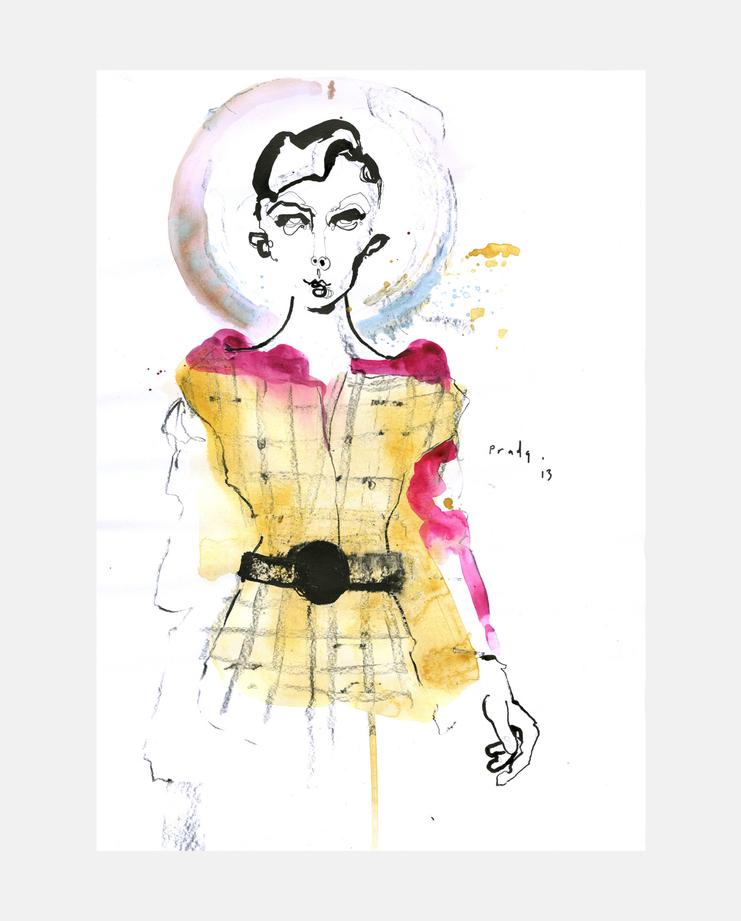 Prada A/W 13 by Fiona Gourlay, fashion illustration