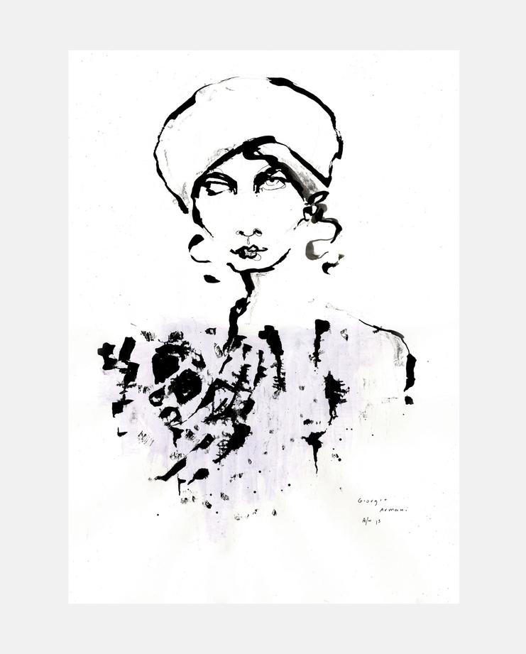 Giorgio Armani A/W 13 by Fiona Gourlay, fashion illustration