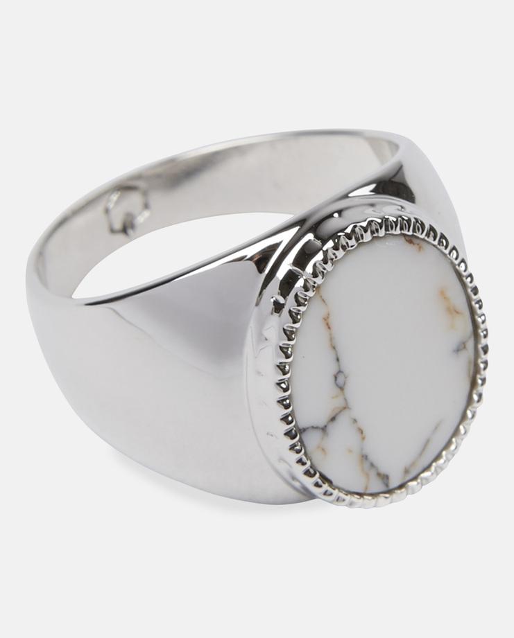 O Thongthai Silver Signet Ring White AW16