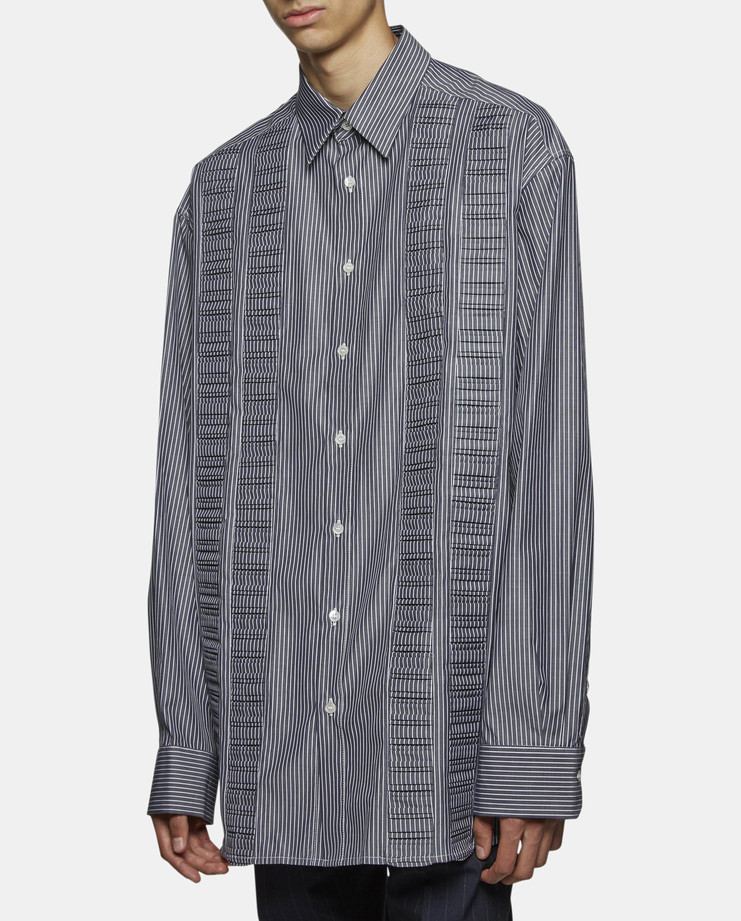 Raf Simons - Extra Big Striped Shirt with Wrinkled Pleat Technique
